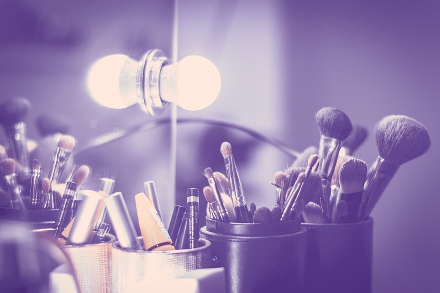 Makeup brushes and vanity mirror