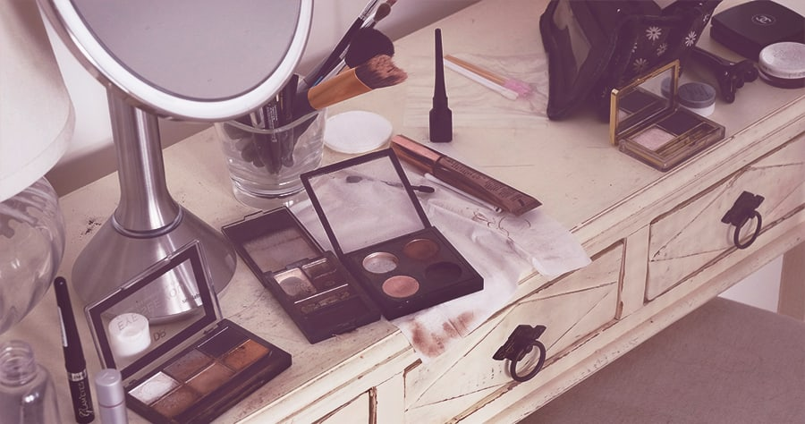 Fix this messy vanity with a makeup organizer